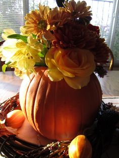 Fall pumpkin bouquet.  Plain Ol' Vanilla.