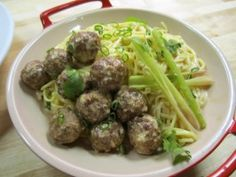 Lemongrass-Coconut Noodles with Spicy Chinese Meatballs : Recipes : Cooking Channel: Recipe Courtesy of Ching-He Huang. Best Chinese Noodles Recipe, Chinese Noodle Recipes, Best Chinese Food, Easy Chinese Recipes, Asian Recipes, Ethnic Recipes, Yummy Recipes, Healthy Recipes, Ching He Huang Recipes