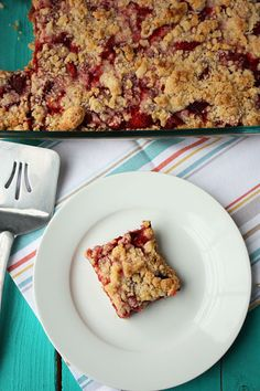 Strawberry crumb bars. Just try to not eat the whole pan!