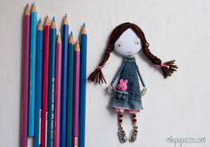 School Girl Art doll brooch Personalized gift for by miopupazzo