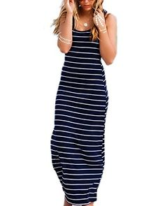 e1f077c836cfe online shopping for ZANZEA Women Cotton Stripe Sexy Sleeveless Casual  Elegant Party Beach Long Tank Dress Sundress from top store.