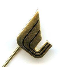 "Vtg ""U"" Logo Trademark United Missouri Bancshares Gold Tone Blk Enamel Stick Pin"