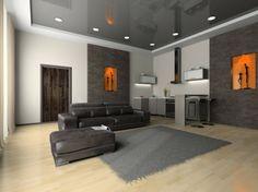 orange gris salon canapé cuir tapis de sol moderne éclairage idée