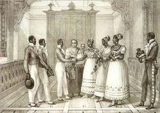 Jean Baptiste Debret & Viscondessa de Portes e litografia de Thierry Frères, 1834-1839 casamentodenegros