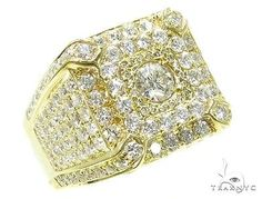 Mens Diamond Ring Round Cut G Color 14k Yellow Gold 4.71ct