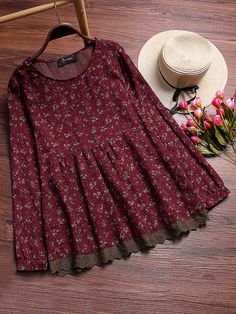 Vintage Floral Printed Stitching Lace Shirts for Women - Newchic Mobile Source by de moda Frock Design, Stylish Dresses, Casual Dresses, Girls Dresses, Casual Outfits, Frock Fashion, Women's Fashion Dresses, Little Girl Fashion, Fashion Kids