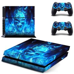 ps4 skin Cool Blue Skull Fire console Skin 2 Controller Sticker For PS4 Full Body