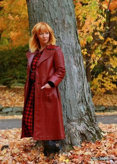 Fashion Fairy Dust style blog// Vintage Red Leather Coat, buffalo plaid duster, cowboy boots, fall outfit, vintage, leather trench coat