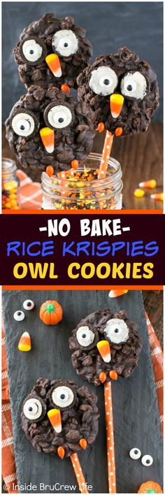 No Bake Rice Krispies Owl Cookies - cookies and candies add a fun twist to these easy no bake cookies. Great treat to share at fall parties! This was created in partnership with Rice Krispies. (no bake halloween appetizers) Easy No Bake Cookies, No Bake Treats, Edible Crafts, Food Crafts, Halloween Goodies, Halloween Treats, Halloween Favors, Halloween Stuff, Rice Krispie Treats