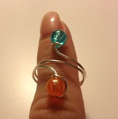 DIY Homemade silver bead wire ring. Too cute and I had so much fun making them with my little girl.