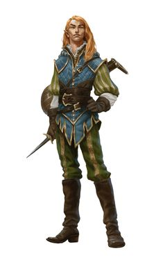 Male Half-Elf Bard Minstrel - Pathfinder PFRPG DND D&D 3.5 5E 5th ed d20 fantasy