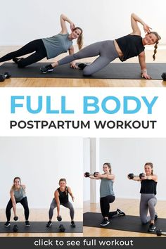 Nine of the best postpartum exercises to build strength at home. Whether you're a couple months postnatal or several years post-baby; this 30-minute full body strength workout is a safe and low-impact workout you can do at home with dumbbells. This postnatal workout includes: Diastasis Recti (DR) safe ab exercises, pelvic floor strengthening exercises, and low impact, full body functional strength training. Postpartum Workout Plan, Postnatal Workout, Full Body Strength Workout, Strength Training, Yoga Sculpt, Diastasis Recti, Plyometrics, Low Impact Workout