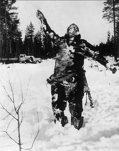 Finnish soldiers- stood dead Russian soldiers up to intimidate further attackers, Finland, Winter War 1939