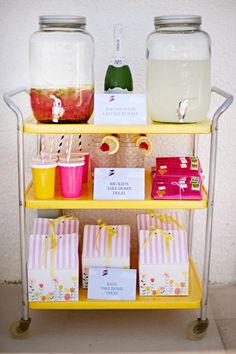 Cute lemonade cart. Photography by juliecate.com/ #birthday #kidsbirthday  Read more - http://www.stylemepretty.com/2013/09/20/a-kite-themed-first-birthday-party/