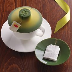 Color Changing Tea Bag Buddy™  Tea time! This little helper holds your tea bag and changes color while it steeps! When your tea is ready, use our Color Changing Tea Bag Buddy™ to lift and squeeze out the bag. Turn it over and use it to keep your tea bag from making a mess on the table.