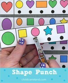 Shape punch for shape identification and fine motor development. Click to see the three ways I use them.
