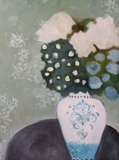 """Daily Painters Abstract Gallery: Contemporary Abstract Still Life Flower Art Painting """"MARAIS #1"""" by Santa Fe Artist Annie O'Brien Gonzales"""