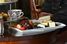 Royal tea has a large fruit and cheese platter of local Salt Spring Island cheeses and a glass of tawny port Fairmont Empress, Royal Tea, Finger Sandwiches, Cheese Platters, Yummy Snacks, High Tea, Scones, Restaurants, Salt