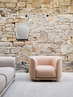 The colour of the moment, millennial pink, has also been utilised in his Fat Tulip seating, which features chunky curved elements supported by low legs.