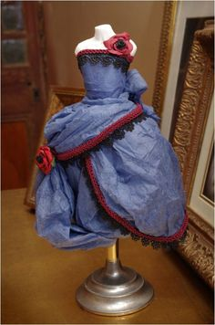 Blue Paper Dress Assemblage with red trim and roses by CorinneDany, $195.00