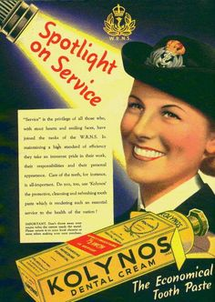 """Spotlight on Service"" ~ WWII era Kolynos Dental Cream poster."