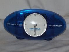 VIAGRA Drug Rep promo clock Pfizer Pharmacy Little Blue Pill w/ card holder…