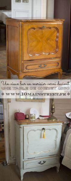 Un bar en merisier verni devient une table de chevet chic | www.10mainstreet.fr