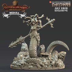 Greek Mythological Creatures, Warhammer Models, Warhammer Fantasy, Greek Mythology Gods, Artists And Models, Fantasy Miniatures, Medusa, Dungeons And Dragons, 3d Printing