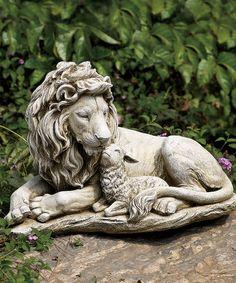 Look at this #zulilyfind! Lion & Lamp Garden Statue #zulilyfinds