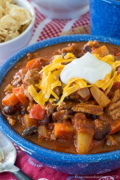 Pineapple Black Bean Slow Cooker Turkey Chili - a healthy crock pot recipe with @jennieorecipes #ad