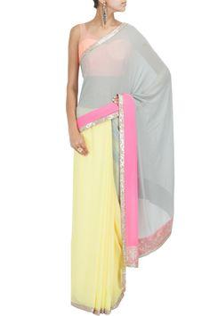 Tri colour kashmiri border sari with peach net blouse BY MANISH MALHOTRA Shop the designer now at: www.perniaspopups... #perniaspopupshop #manishmalhotra #newcollection #softhues #stunning #fashion #amazing #style #campaign #fabulous #musthave #summerwedding #happyshopping