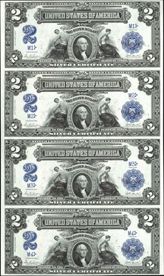 US 2 Dollar Note Series 1899 Serial# - Signatures: Parker / Burke Mechanics and Agriculture Portrait: George Washington Rare Coins Worth Money, Valuable Coins, Antique Coins, Old Coins, Money Template, Money Notes, Dollar Money, Silver Certificate, Coin Worth