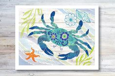 Note Card / Blue Crab / Shellfish / Beach by CoastalColorsCapeCod
