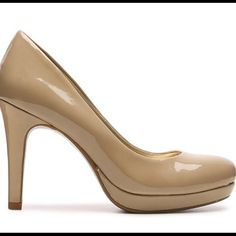 """Bandolino Bria platform pump Great condition, only worn once.   Nude patent leather pumps with 4"""" heel.  Rubber sole for comfort and ultra comfy padded insole.  Fits true to size. Bandolino Shoes Heels"""