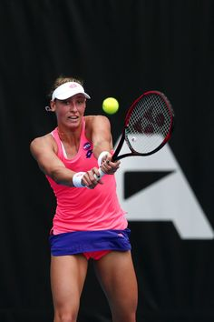 Yanina Wickmayer Photos Photos - Yanina Wickmayer of Belgium plays a backhand in her match against Johanna Larsson of Sweden on day two of the ASB Classic on January 3, 2017 in Auckland, New Zealand. - ASB Classic - Day 2