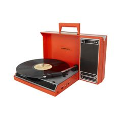 Bring retro charm into your living room while maintaining your modern lifestyle. This poppy-red record player gives you old-school appeal while letting you rock out to your favorite MP3s.  Equipped wit...  Find the Rock Around Turntable in Orange, as seen in the A Mid-Century Snapshot Collection at http://dotandbo.com/collections/a-mid-century-snapshot?utm_source=pinterest&utm_medium=organic&db_sku=89214