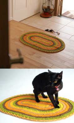 Crochet oval rug - free diagram pattern
