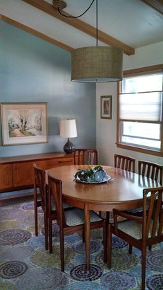 My mid-century modern dining room; all pieces found locally at resale and antique shops! Mid Century Modern Dining Room, Mid Century Modern Decor, Mid Century Modern Furniture, Midcentury Modern, Mid-century Interior, Interior Design, Room Ideas, Decor Ideas, Modern Interiors