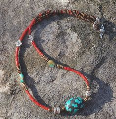 Turquoise and Coral Necklace with silver and bone.  by cherries33