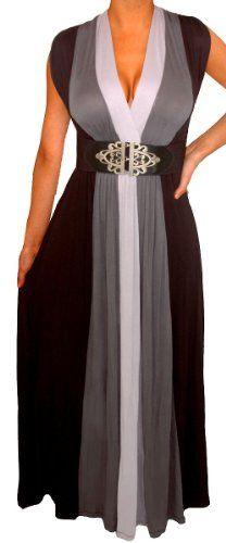 FUNFASH WOMENS PLUS SIZE SLIMMING BLACK COLOR BLOCK LONG MAXI PLUS SIZE DRESS $59.99