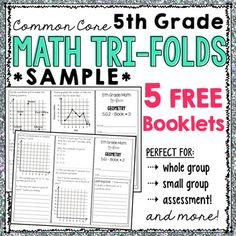 In this free item you will find 5 booklets that you can use in your classroom.  If you find them helpful and would like to see the bundle, please visit this page.The following tri-folds are included in this download:- 5.OA.2 - Booklet #1- 5.NF.7 - Booklet #1- 5.NBT.7 - Booklet #1- 5.MD.3 & 5.MD.4 - Booklet #1- 5.G.2 - Booklet #1WAYS TO USE:* Introduce a specific standard whole group* Use in small group to practice/reteach a specific standard* Place in an independent math workshop center*...