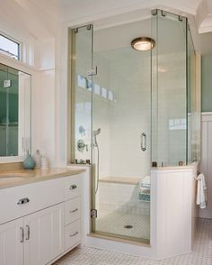 House of Turquoise: Ron DiMauro Architects | great idea of having a seating area in the shower