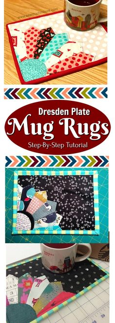 Make your own Scrappy Dresden Plate Mug Rug!  Use your scraps or get some cute Charm Packs and DIY!  Check out this step by step tutorial and make your own! #Quilting #Sewing #DIY #Create
