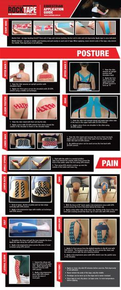 Taping ~ Posture ~ Equestrian Application Guide from RockTape Health And Beauty, Health And Wellness, Health Fitness, Fitness Workouts, K Tape, Kinesiology Taping, Psoas Muscle, Athletic Training, Physical Therapist