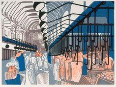 London ,Smithfield Market, 1967, lithograph after linocut.by Edward Bawden