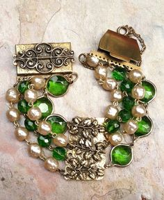 Vintage Green Glass Baroque Pearl Bracelet 4 Strand by WillowBloom, $58.00