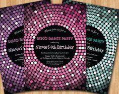 Disco Dance Party Birthday Invitation. Girl birthday party invites. Pink, Purple, Tiffany Blue Glitter. Printable digital DIY.