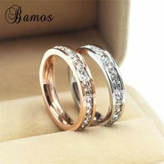 Girls Geometric Ring 925 Sterling Silver Filled & Rose Gold Ring Promise Wedding Engagement Rings