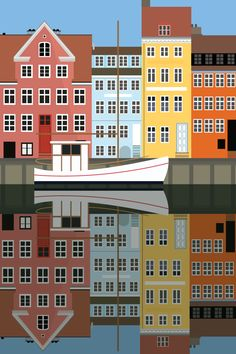 "Christianshavns Kanal - illustration #Sivellink ""An Icon a Day"" blog"