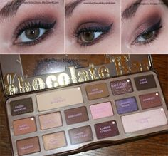 TUTORIAL :: Too Faced Chocolate Bar Palette :: Stila Taffy Prime Pot & Maybelline Color Tattoo Pomegranate Punk (bases). SALTED CARAMEL (crease). Lid: BLACK FOREST TRUFFLE (outer 2/3, slightly in crease); AMARETTO (inner 1/3).  CHERRY CORDIAL (outer V, darken crease). WHITE CHOC (browbone). CHAMPAGNE TRUFFLE (inner h/l). Milani ShadowEyez Cafe au Lait (waterline/lower lashline). Lower lashline: AMARETTO, CHERRY CORDIAL (outer), CHAMPAGNE TRUFFLE (inner). +Liquid liner/mascara…